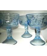 "Fostoria WOODLAND BLUE Champage Sherbet 3-pc Glass 5 1/4"" Blue Glass Exc... - $20.99"