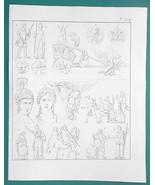 MYTHOLOGY Roman Gods Deities Zeus Mars Here Ares Juno - 1828 Antique Print - $10.44