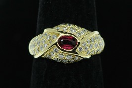 Art Deco Style 18K Yellow Gold Natural Ruby and Pave Diamond Ring (Size ... - $630.00