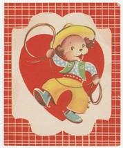 Vintage Valentine Card Dressed Dog Cowboy Doubl-Glo 1940's - $7.91