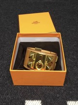 Authentic Hermes Camel Beige CDC Collier De Chien Leather Gold Bracelet Cuff PM - $859.00