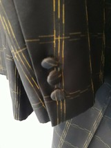 Mens Black Gold 2 Pc Suit 40L Jacket Pants Geometric  - $29.65