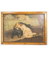 Antique Benke & Gast Framed Lithograph Print Girl w/ Dog Victorian Era - $193.04