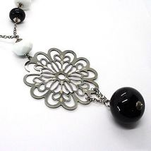 SILVER 925 NECKLACE, ONYX BLACK, AGATE WHITE, FLOWER MILLED PENDANT image 3