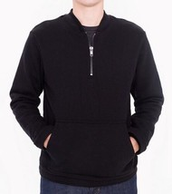 Men's Half Zip Crewneck Pullover Sweatshirt Black L American Apparel HVT... - $19.21