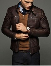 Mens Brown Cowhide Hand made Leather Jacket Real Bespoke Genuine Leather - $118.79+