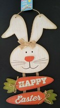 Easter Hanging Wall Décor Glittery Easter Bunny & Carrots 'Happy Easter'... - $3.46
