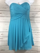 Women's Davids Bridal Sz 10 Aqua Blue Formal/Bridesmaid Strapless Dress - $23.38