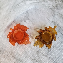 Tealight Candle Holders, set of 2, Glass Autumn Leaves, Red Orange Gold image 3