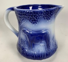 "Vintage 6.5"" Blue IRONSTONE Art Pottery Pitcher Jug Cow Flowers Grass HE... - $21.43"