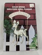 Solid Brass Welcome Wall Plaque Deer Taiwan - $18.06