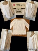 NEW! Cremieux Ladies Top Size Small White Lace 100% Cotton Retail $79 Ne... - $12.86