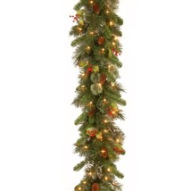 National Tree 9 Foot by 12 Inch Wintry Pine Garland with Red Berries, Cones and