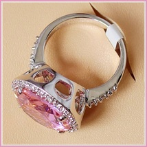 Pink Round Princess Cut Cubic Zirconia Crystal Encircled 925 Silver Plated Ring image 3
