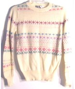 Size XS-M -  Ricki Ivory Floral Striped Acrylic Blend Long Sleeve Sweater  - $28.49
