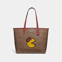 Coach PAC-MAN Signature Red Ms.Pac-Man Reversible Tote Bag Wristlet Pouch  - $145.00
