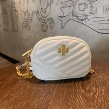 TORY BURCH Kira Chevron Small Camera Crosbody Shoulder Bag White Authentic - $278.00