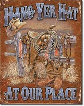 Hang Yer Hat At Our Place Welcome Rustic Horse Cowboy Wall Decor Metal Tin Sign - $9.99