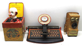 3 pc Vintage 1950s Tin Toys Mattel Jack in the Box+Litho Typewriter+Talk... - $37.39