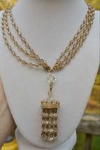 Fabulous vintage Austria topaz crystal bead chandelier swag necklace mul... - $34.64