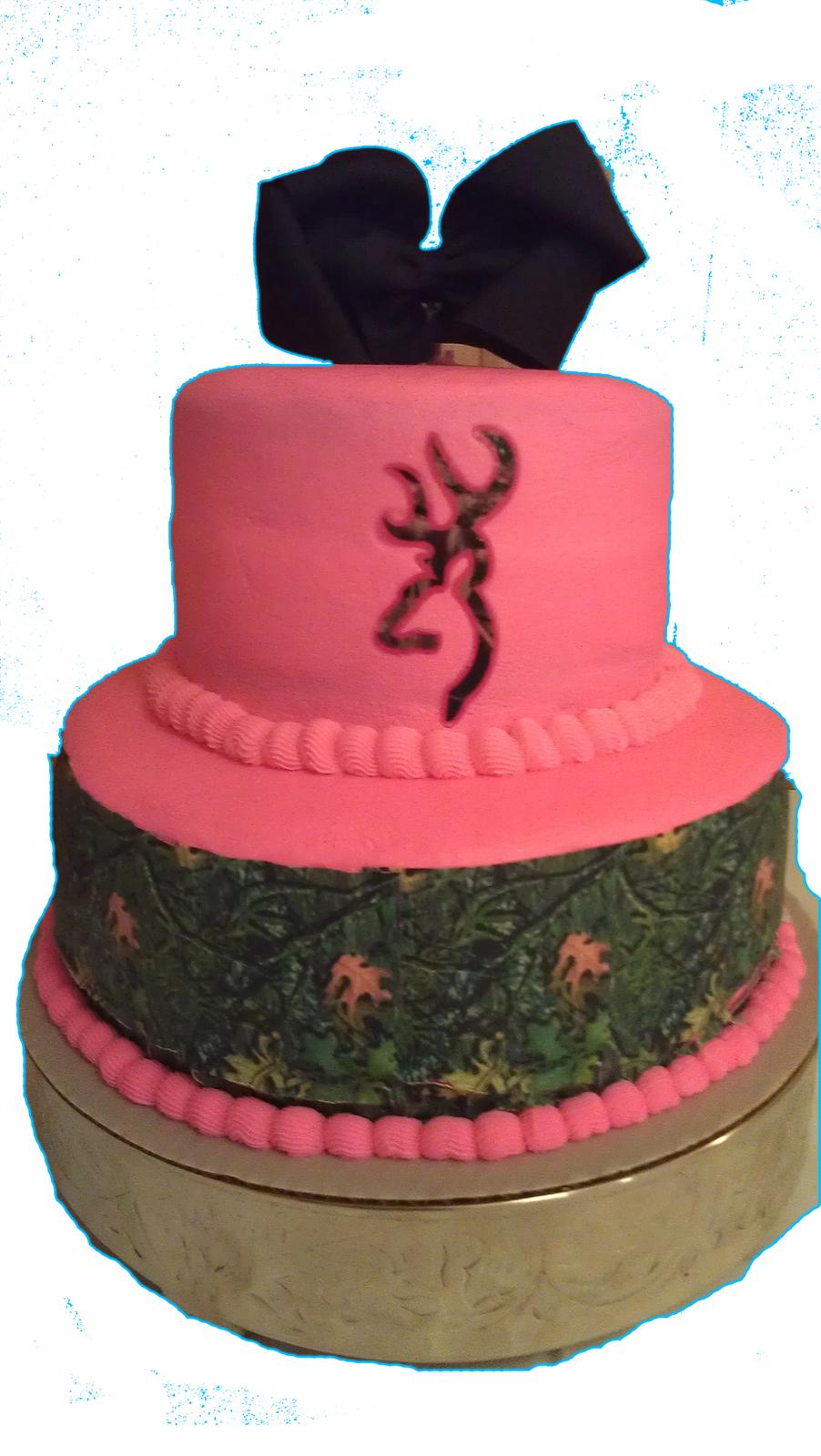 Mossy Oak Pink Mossy Oak WEDDING BUCK DOE Edible Cake Topper Image Decoration