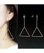Double Triangle Stud Dangle Drop Earrings 2 Styles Ways 925 Silver Tone ... - $21.96