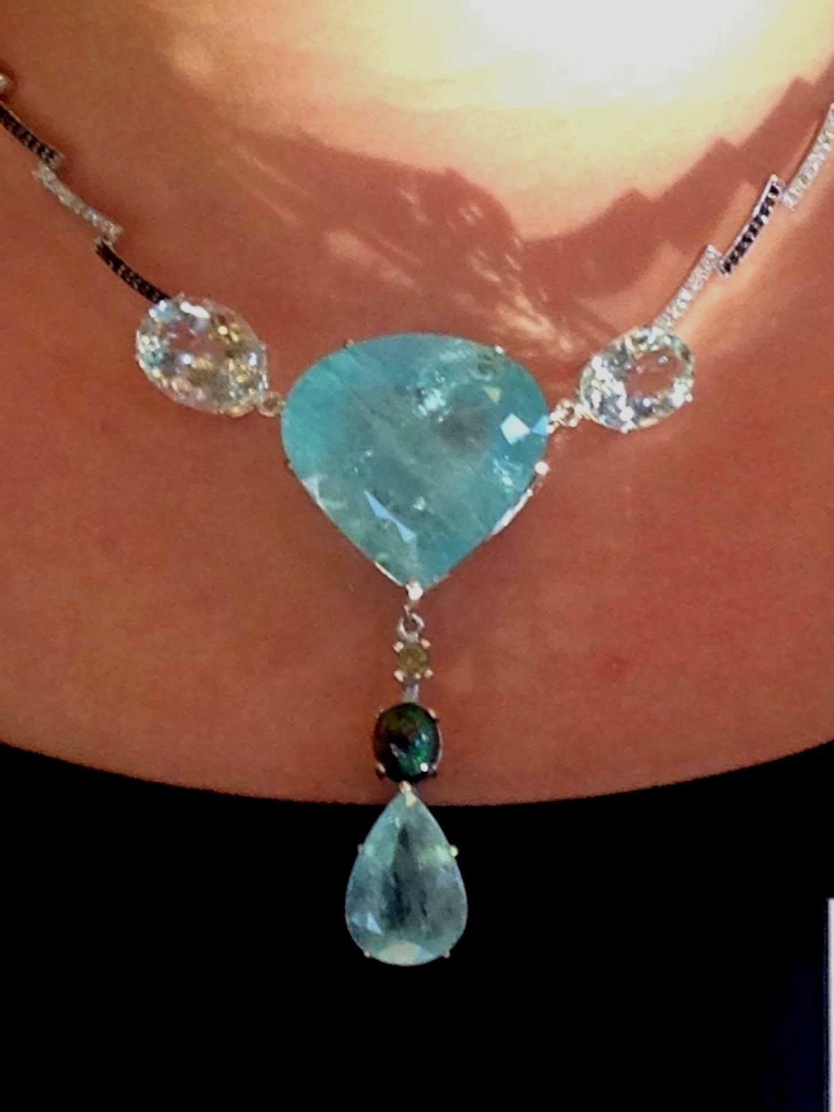 Huge 113.29 ct aquamarine, opal, white & black diamond 14k gold necklace choker