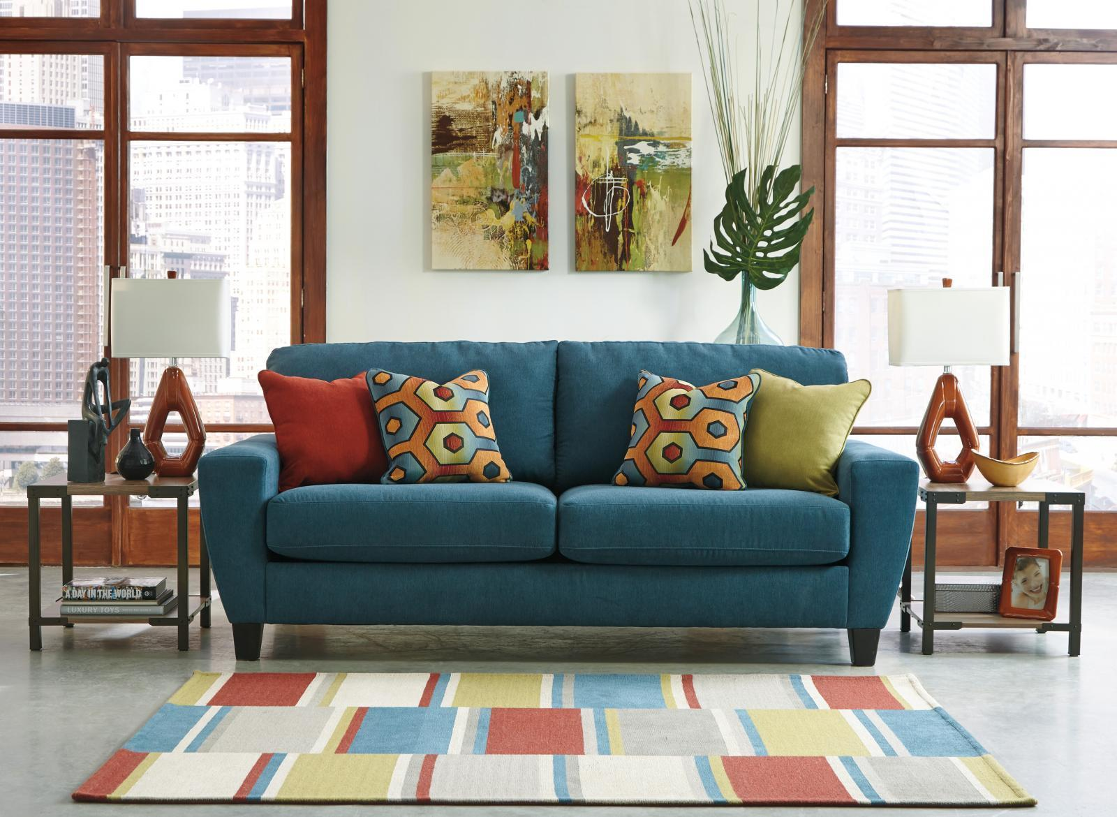 Ashley Sagen Living Room Set 4pcs In Teal Textured Microfiber Contemporary St