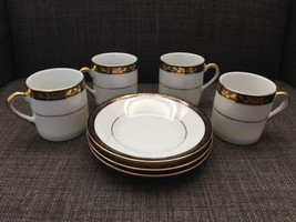 Yamasen Gold Collection Fine Porcelain 24 ct Gold Plated 4 Cups 3 Saucer... - $16.99