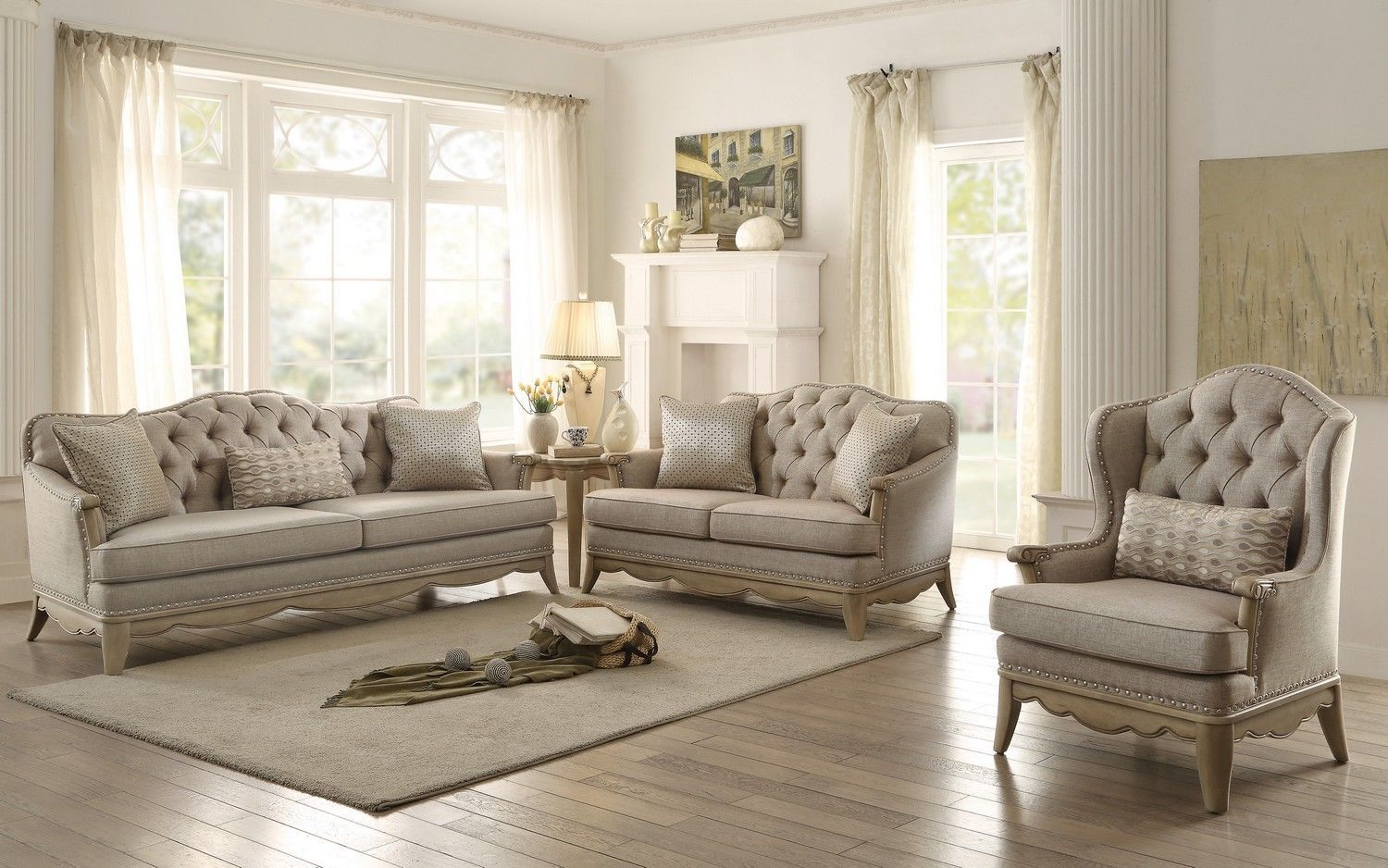 Formal traditional ashden sofa set 3pc sofa loveseat chair for Traditional living room sets