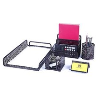 Crystallove Metal Mesh Desk Accessories Office Products Organizer Set of... - $26.38