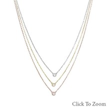 Graduated Tri Tone Gold Plated Sterling Silver Necklace with bezel set CZs image 2