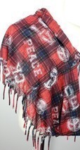 Peace Love Infinity Scarf Red Black Blue Plaid Fringe Lightweight image 1