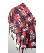 Peace Love Infinity Scarf Red Black Blue Plaid Fringe Lightweight - $9.89
