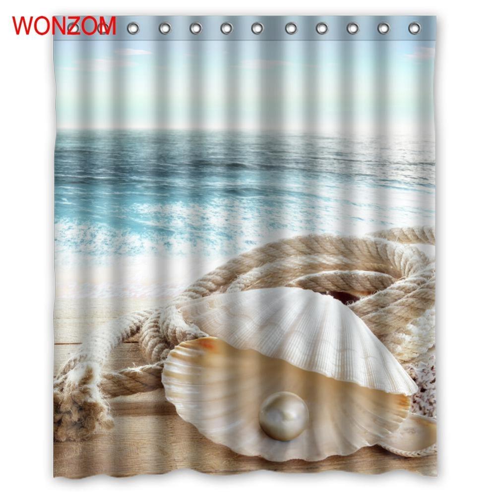 WONZOM Sea Landscape Shower Curtains For Bathroom Decor Modern Shell Waterproof  image 3