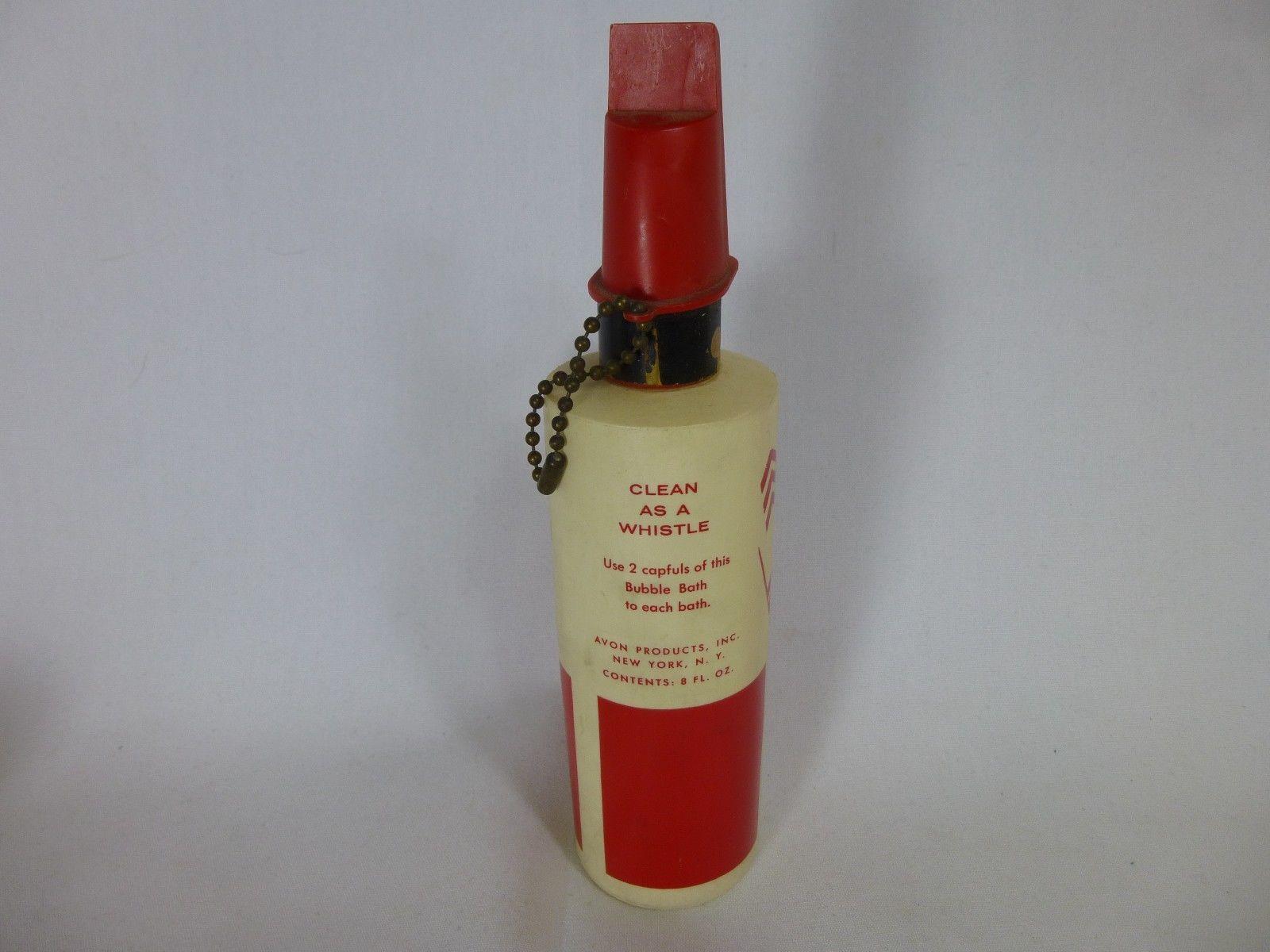 Avon bubble bath bottle clean as a whistle fire fighter for Bathroom bottles