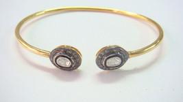 Antique Vintage INS 1.01Ct Polky RoseCut Diamond 925 Silver Bracelet Eba... - $174.25