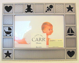 Brushed Pewter Baby Frame 3.5 x 5 Cut Out Designs 32403512 - $31.18