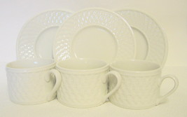 Oneida Cups and Saucers Westerly Basket Stonewa... - $49.49
