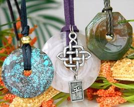 3 Vintage Donut Quartz Agate Pendant Necklaces Round Octagon  - $34.95