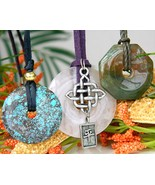 3 vintage donut quartz agate pendant necklaces round octagon thumbtall