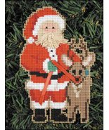 Reindeer Santa Olde Time Santa Ornament kit christmas perforated paper  - $5.40