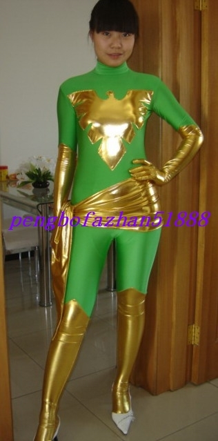 Fantastic Green/Gold Phoenix Suit Catsuit and similar items