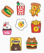 LINE Friends Burger & Chips Edition Deco Sticker 8 Types Character Desk ... - $9.98