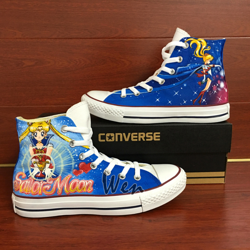 Anime Sailor Moon Converse All Star Hand Painted Shoes Men Women's Sneakers