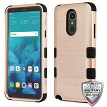 Rose Gold Brushed/Black TUFF Hybrid Case Phone Cover for LG Stylo 4 Plus... - $13.39