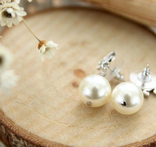 Authentic CHANEL Small Crystal CC LOGO PEARL DROP PIERCE EARRINGS Classic  image 4