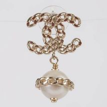 AUTH CHANEL TOP FALL GOLD CHAIN CC PEARL DANGLE DRESS EARRINGS  image 2