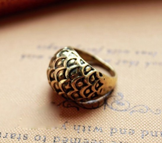 Primary image for Punk Rock Fish Scale Dome Cocktail Ring(Color:Bronze /Silver )