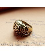 Punk Rock Fish Scale Dome Cocktail Ring(Color:Bronze /Silver ) - $5.80